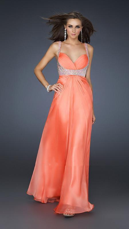 La Femme - Bead Embellished Ruched Sweetheart Chiffon A-line Gown 17543 In Orange