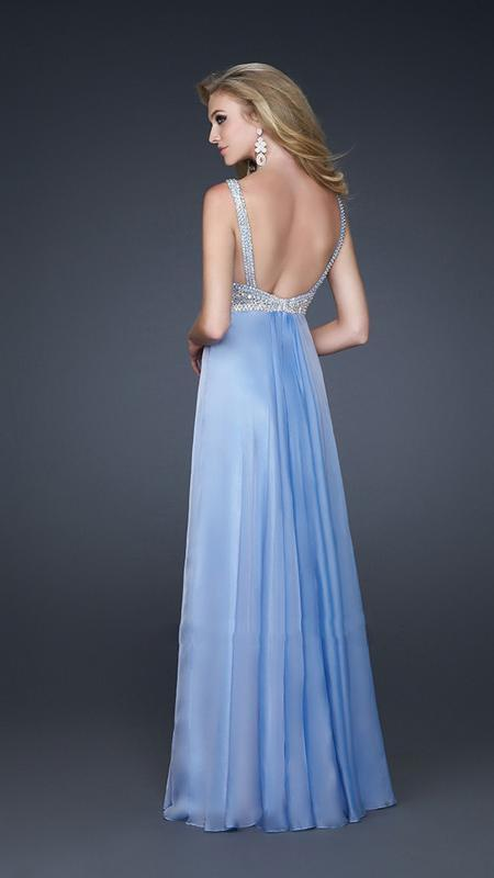 La Femme - Bead Embellished Ruched Sweetheart Chiffon A-line Gown 17543 In Blue