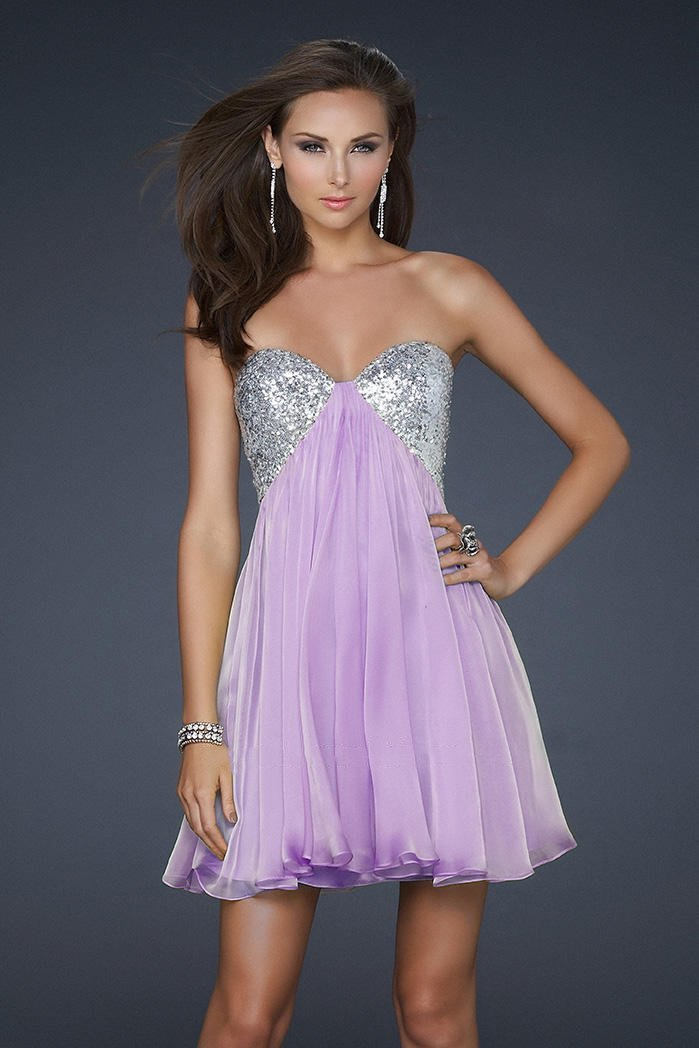 La Femme - Strapless Sequined Sweetheart Mini Party Dress 17649 In Purple and Silver
