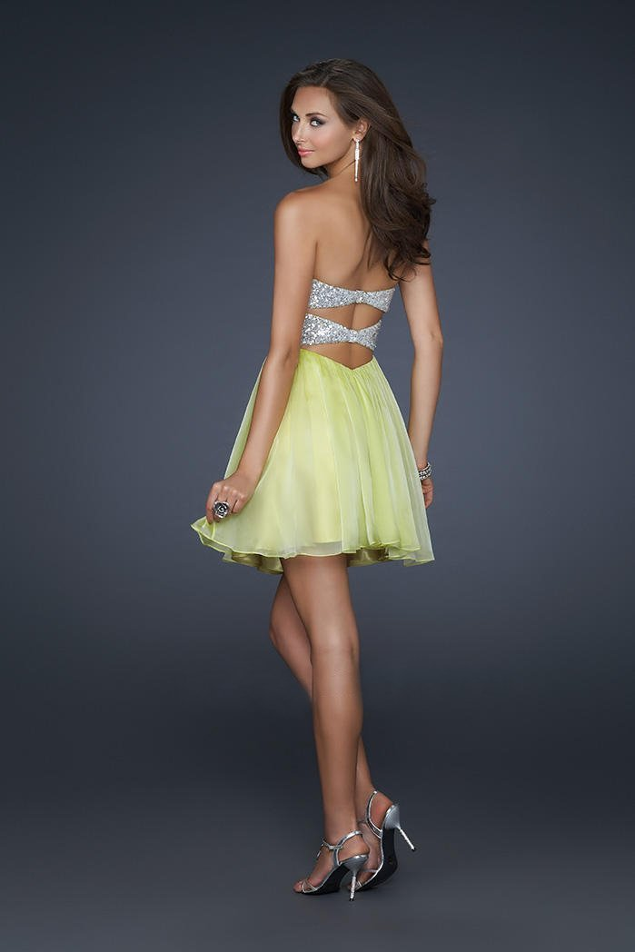 La Femme - Strapless Sequined Sweetheart Mini Party Dress 17649 In Yellow and Silver