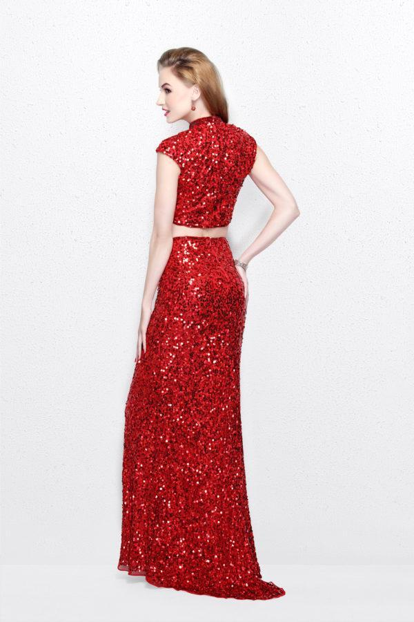 Primavera Couture - Two Piece Sequined Long Dress 1766 in Red