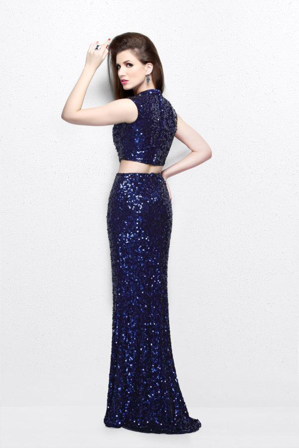 Primavera Couture - Two Piece Sequined Long Dress 1766 in Blue