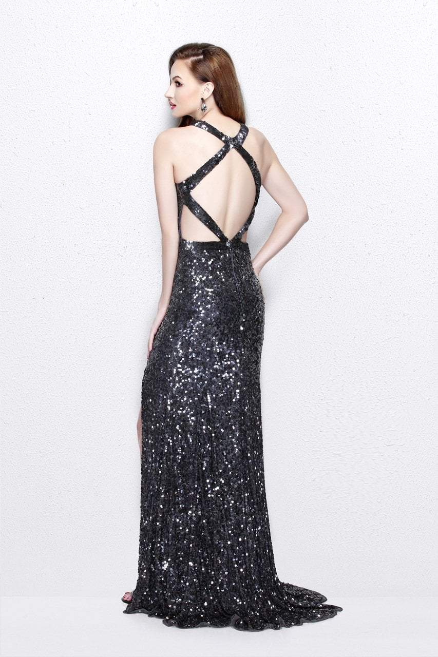Primavera Couture - Glittering Sequined High Illusion Sheath Gown 1767 in Gray