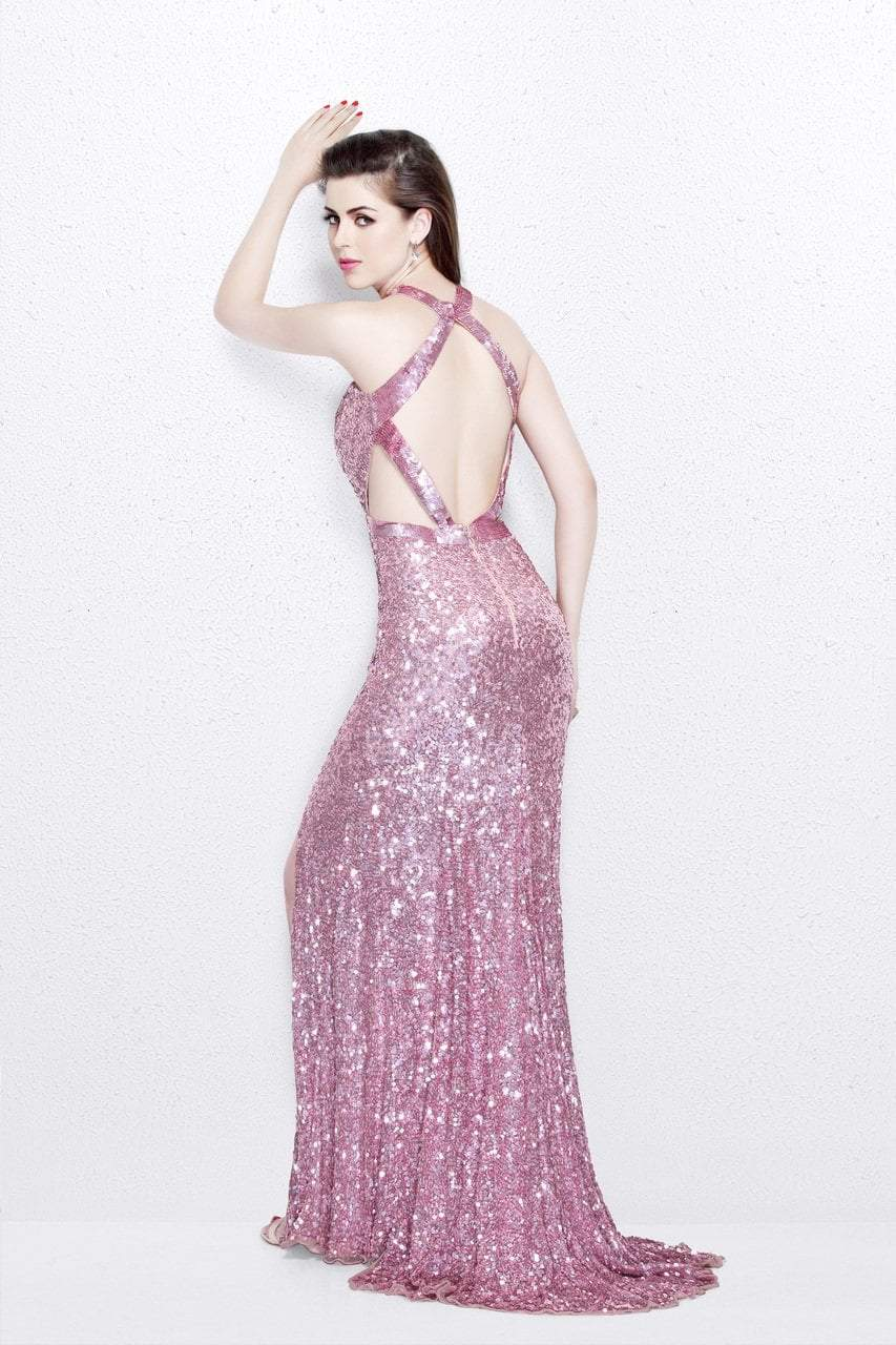 Primavera Couture - Glittering Sequined High Illusion Sheath Gown 1767 in Pink