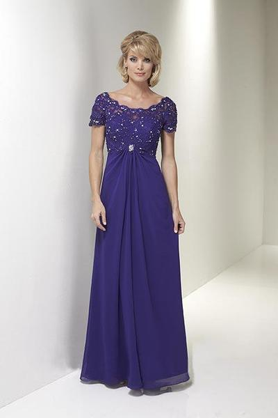 Christina Wu Elegance - Short Sleeve Jeweled Lace Draped Gown 17769 In Purple