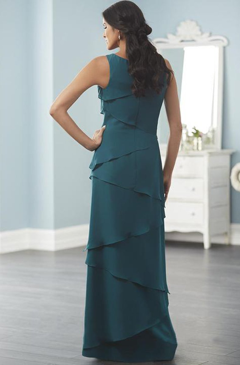 Christina Wu Elegance - Tiered Chiffon Long Sheath Dress 17842 In Green