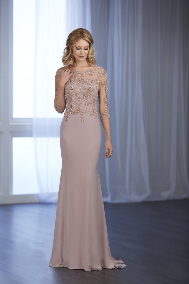 Beaded Lace Illusion Bateau Jersey Gown 17852 in Pink and Neutral