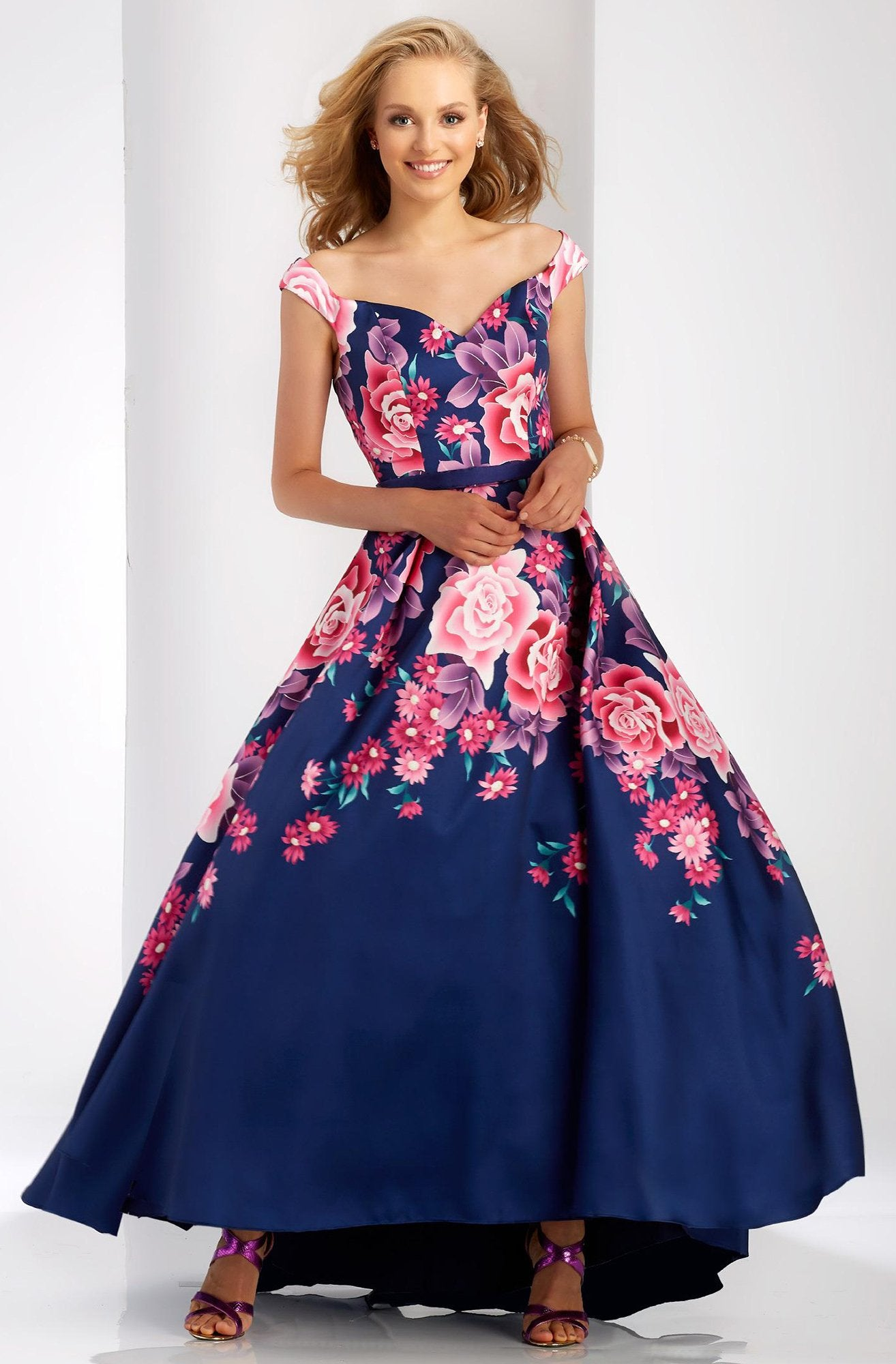 Clarisse - 3569 Off the Shoulder High Low Evening Gown in Blue and Print