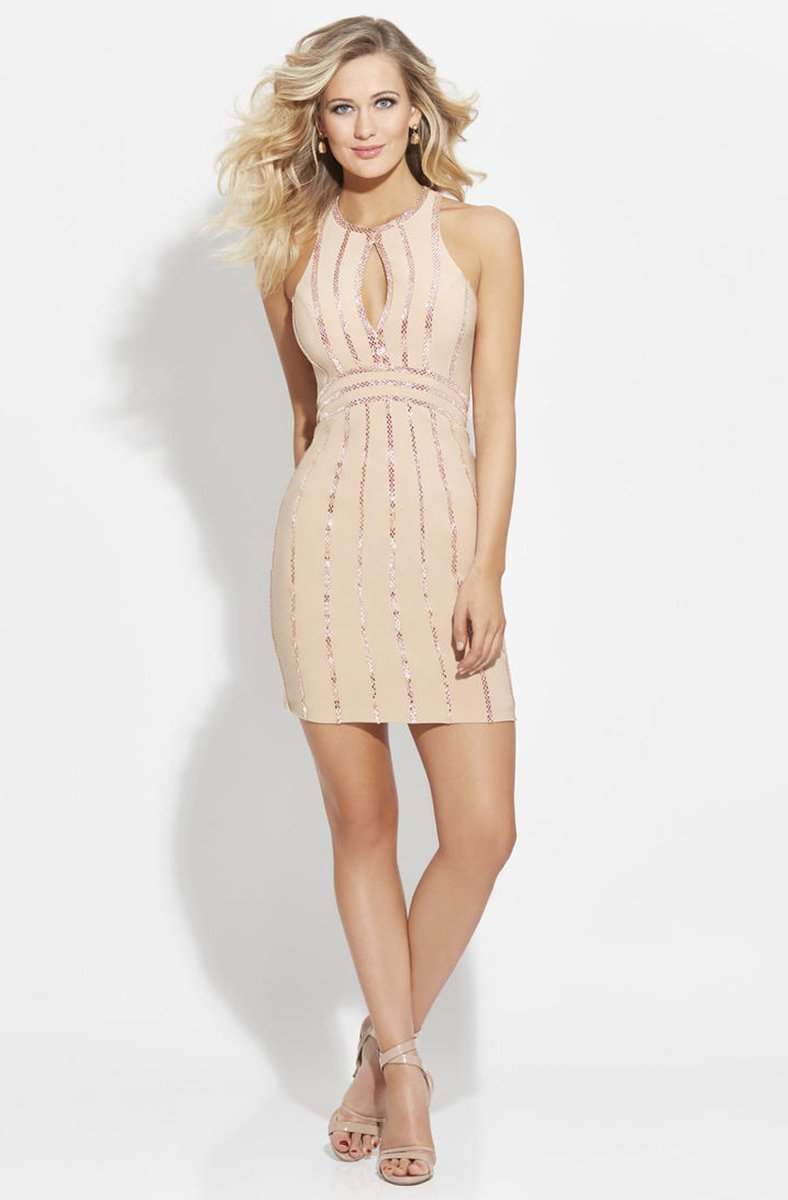 Madison James - 17-504 Beaded Halter Sheath Dress in Neutral