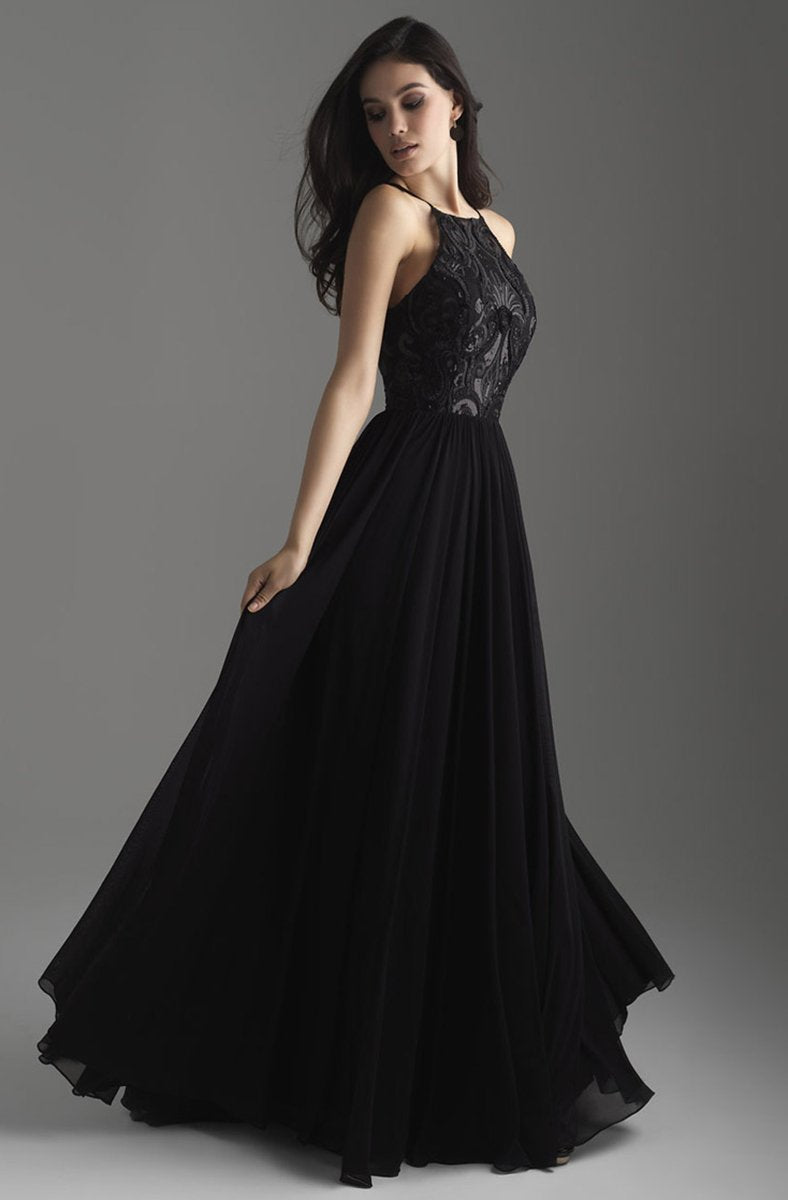 Madison James - 18-605 Sequin Ornate Embroidered Bodice A-Line Gown In Black