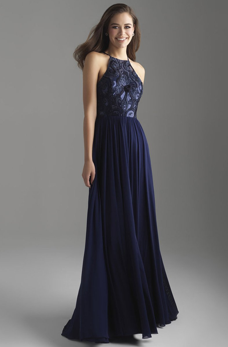 Madison James - 18-605 Sequin Ornate Embroidered Bodice A-Line Gown In Blue