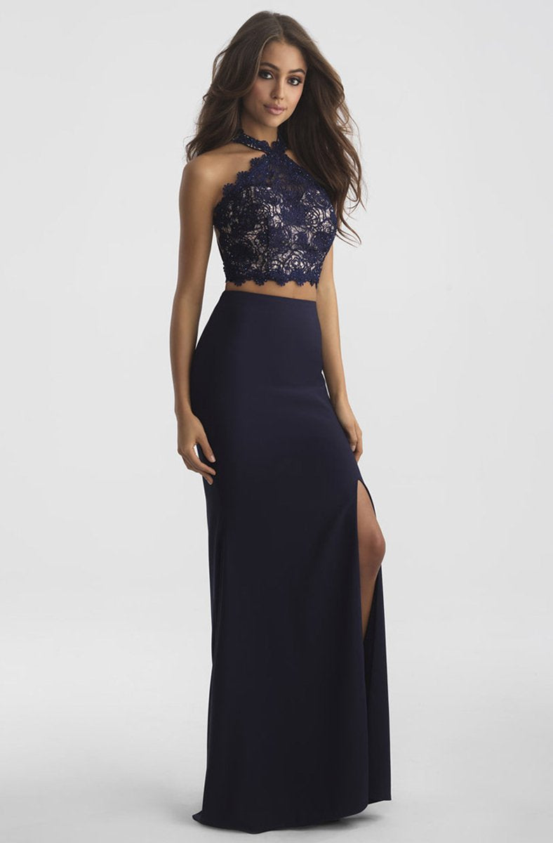 Madison James - Two Piece Lace Sheath Dress 18-619 In Blue