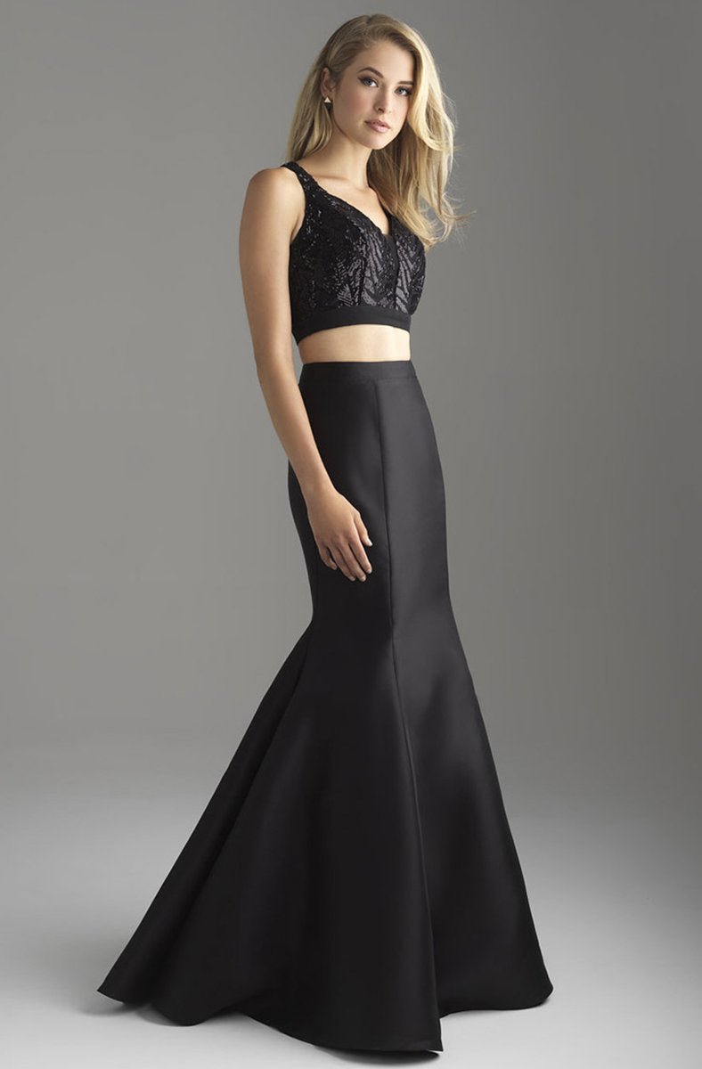 Madison James - 18-637 Two Piece Crop Top Mikado Mermaid Gown In Black