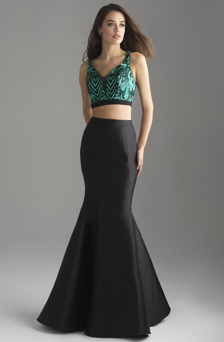 Madison James - 18-637 Two Piece Crop Top Mikado Mermaid Gown In Green and Black