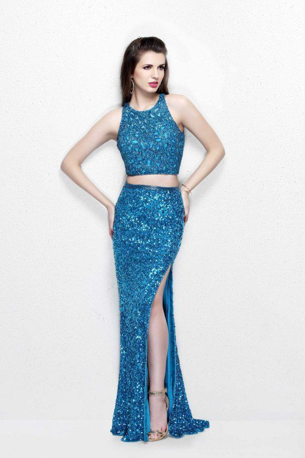Primavera Couture - Two Piece Long Gown with Slit 1801 in Blue