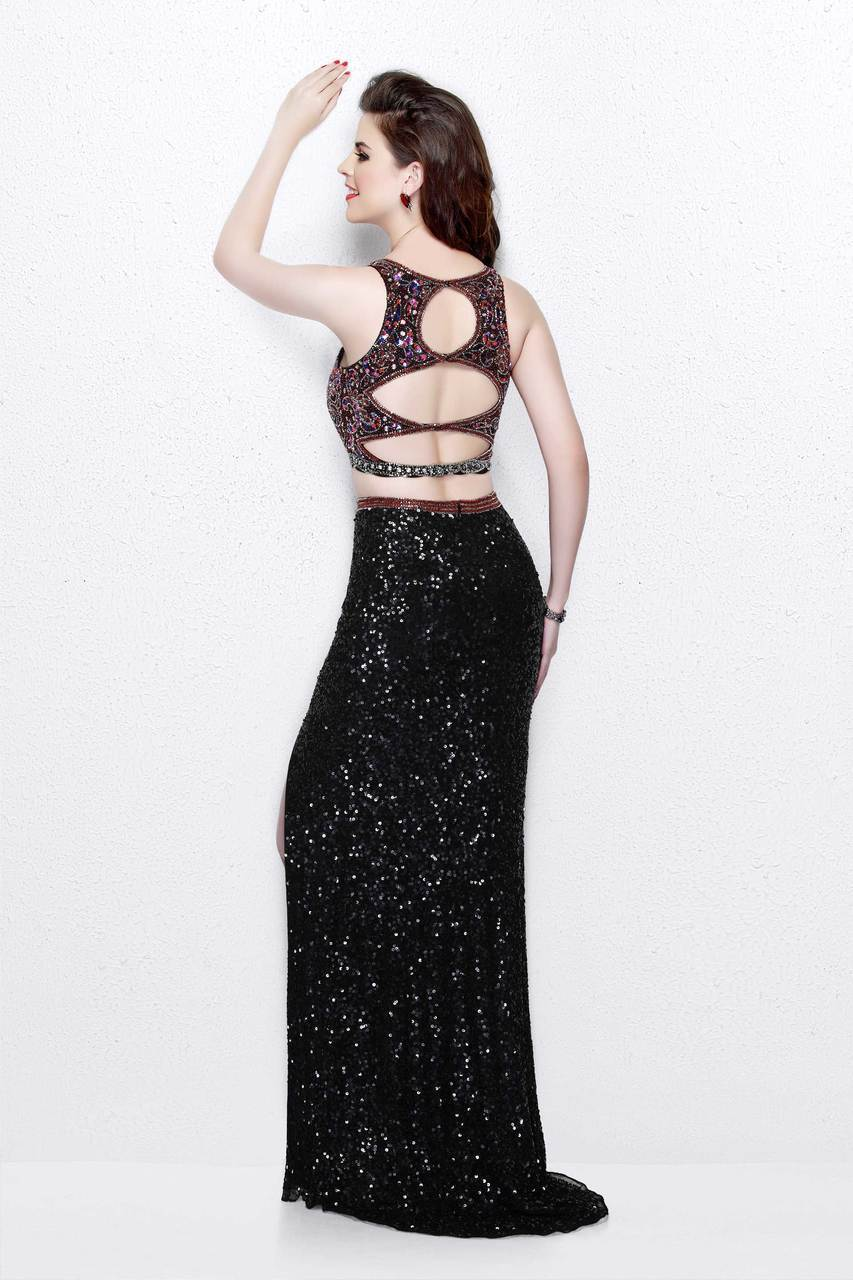 Primavera Couture - Two-Piece Sequined Jewel Sheath Gown with Side Slit 1802 in Black and Multi-Color