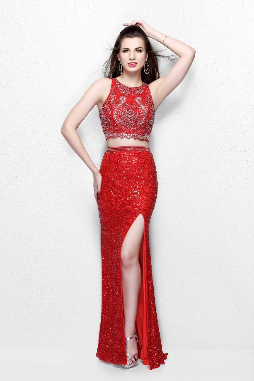 Primavera Couture - Two-Piece Sequined Jewel Sheath Gown with Side Slit 1802 in Red