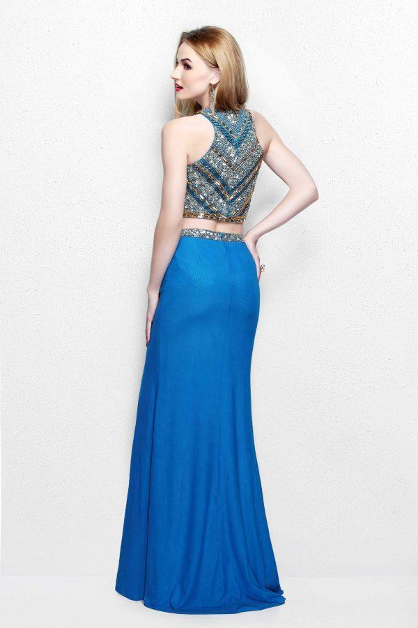 Primavera Couture - Two Piece Fitted Long Dress with Slit 1803 in Blue