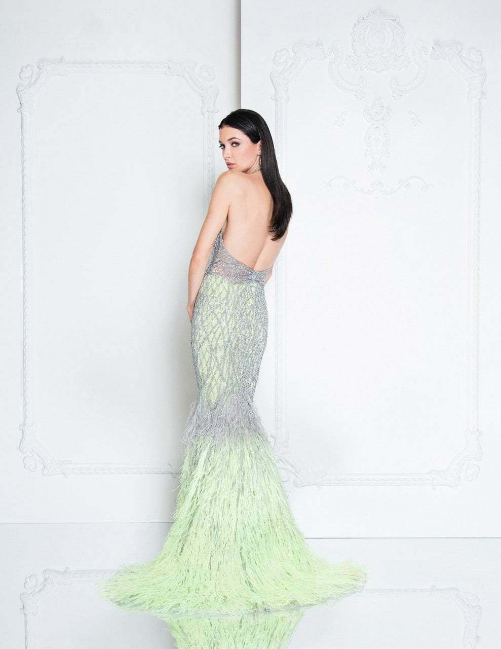 Terani Couture - 1811GL6407 Silver Embellished Halter Mermaid Dress In Silver and Green