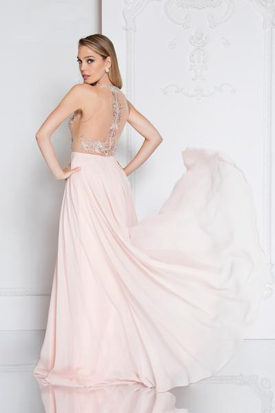 Terani Couture - 1811P5215 Beaded Nude Illusion Chiffon Gown In Pink and Neutral
