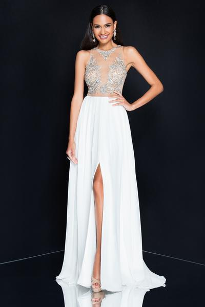 Terani Couture - 1811P5215 Beaded Nude Illusion Chiffon Gown In White and Neutral