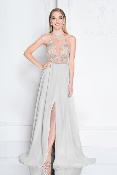 Terani Couture - 1811P5215 Beaded Nude Illusion Chiffon Gown In Silver and Neutral