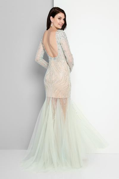 Terani Couture - 1811P5506 Beaded Nude Illusion Tulle Mermaid Gown In Green and Neutral