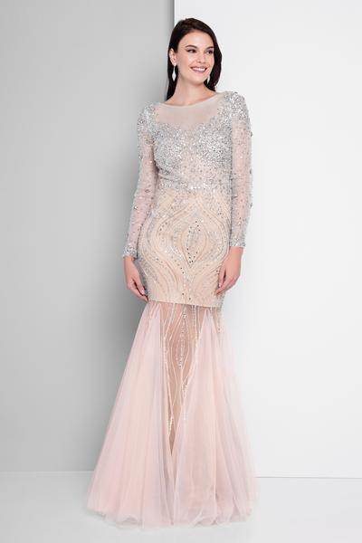 Terani Couture - 1811P5506 Beaded Nude Illusion Tulle Mermaid Gown In Pink and Neutral
