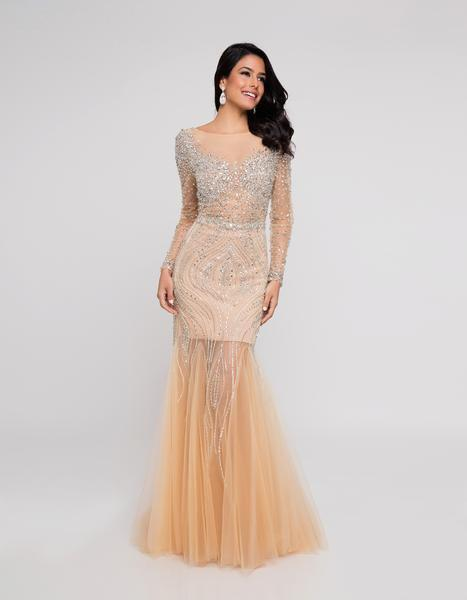 Terani Couture - 1811P5506 Beaded Nude Illusion Tulle Mermaid Gown In Yellow and Neutral