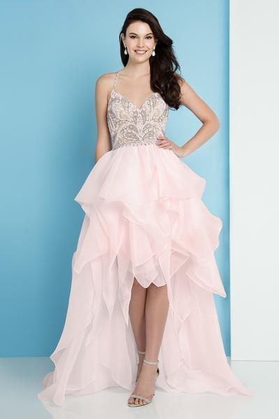 Terani Couture - 1811P5782 Beaded Bodice T-Strap Hi-Lo Prom Dress In Pink