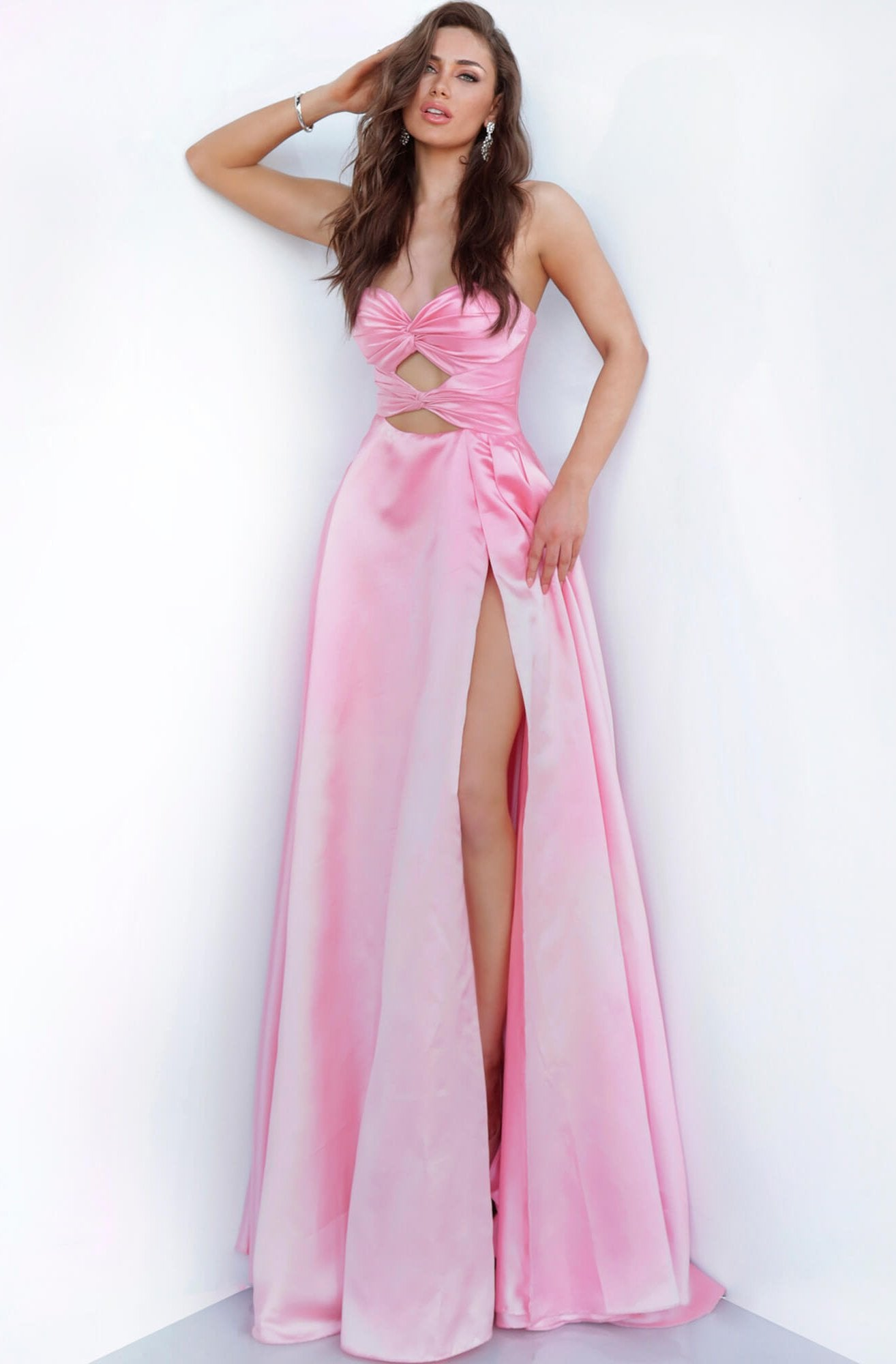 Jovani - 1815 Cutout Ornate Knotted Ruche Long Gown In Pink