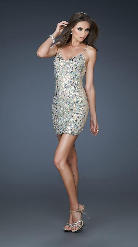 La Femme - Stone and Sequin Embellished Cocktail Dress 18167 in Silver and Nude