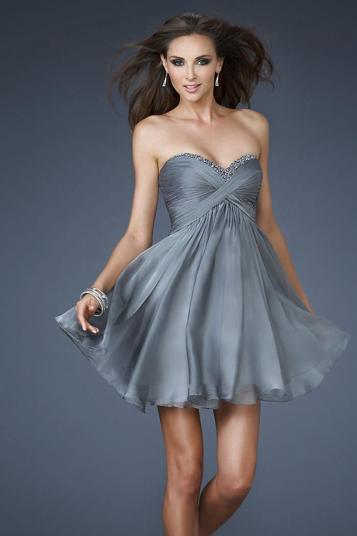 La Femme - Glittering Sweetheart Mini Party Dress with Diamond Cutout Back 18177 In Gray and Silver