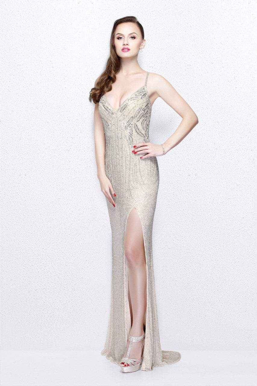 Primavera Couture - Sequined V-Neck Sheath Gown with Crisscrossed Straps 1818 in Neutral