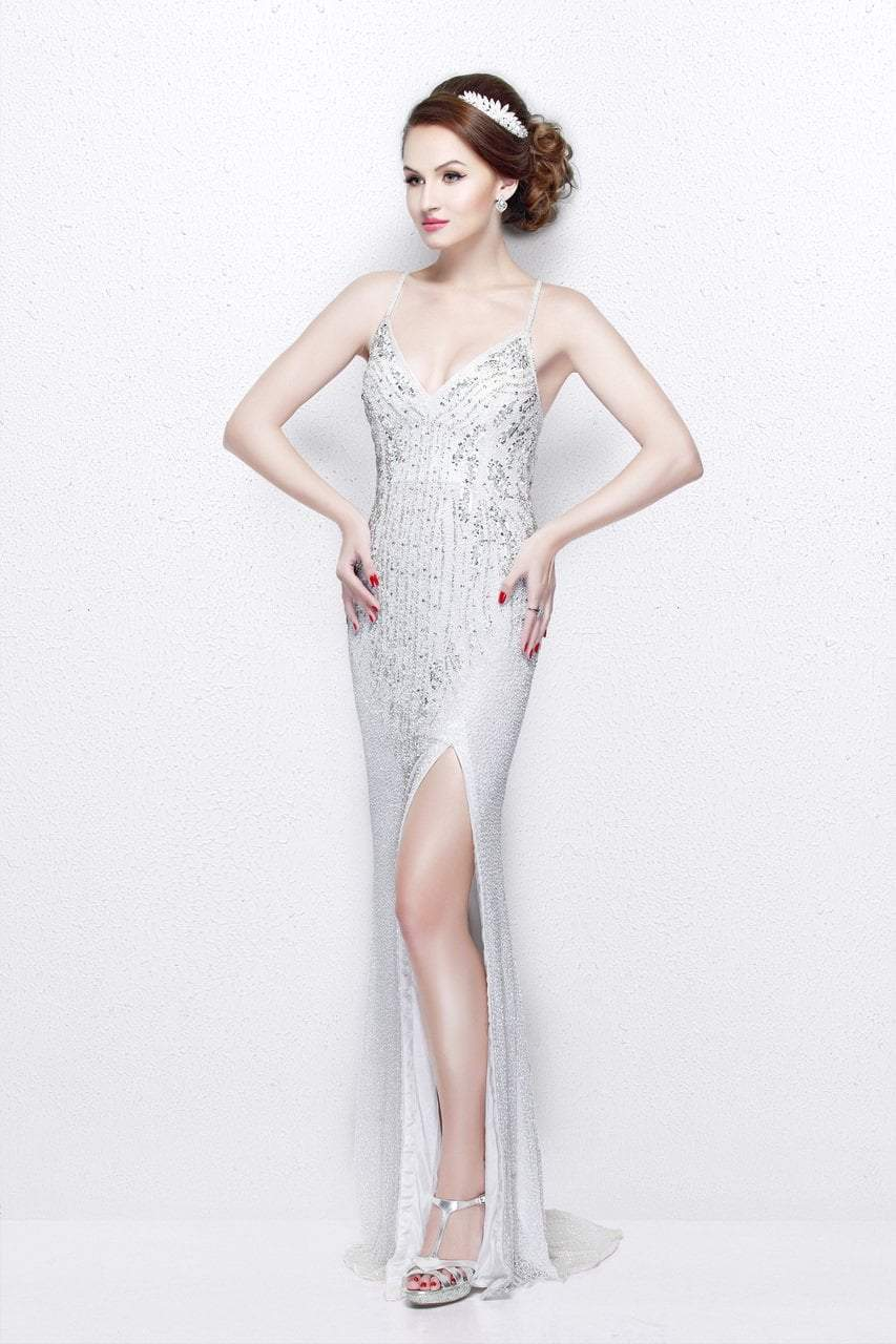 Primavera Couture - Sequined V-Neck Sheath Gown with Crisscrossed Straps 1818 in White