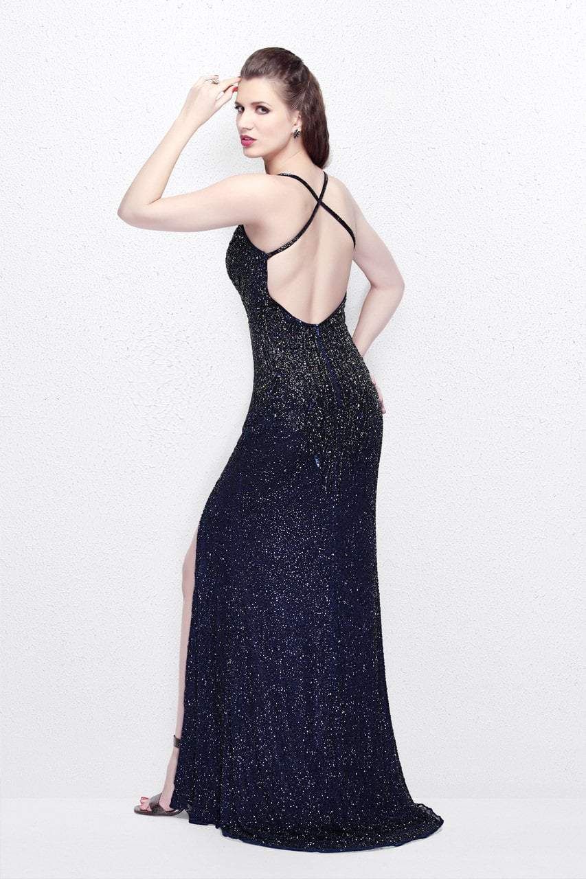Primavera Couture - Sequined V-Neck Sheath Gown with Crisscrossed Straps 1818 in Blue