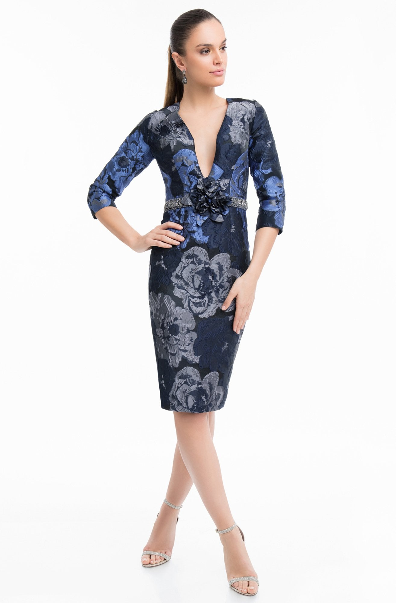 Terani Couture - 1821C7020 Plunging Floral Quarter Length Sleeves Dress in Blue and Silver