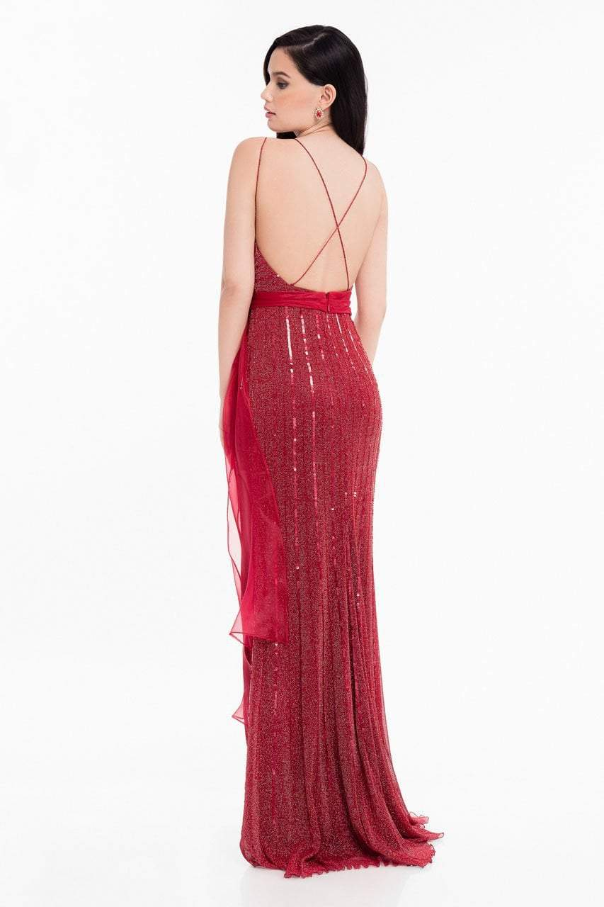 Terani Couture - 1821E7111 Sequin Ornate Sashed Long Evening Gown in Red