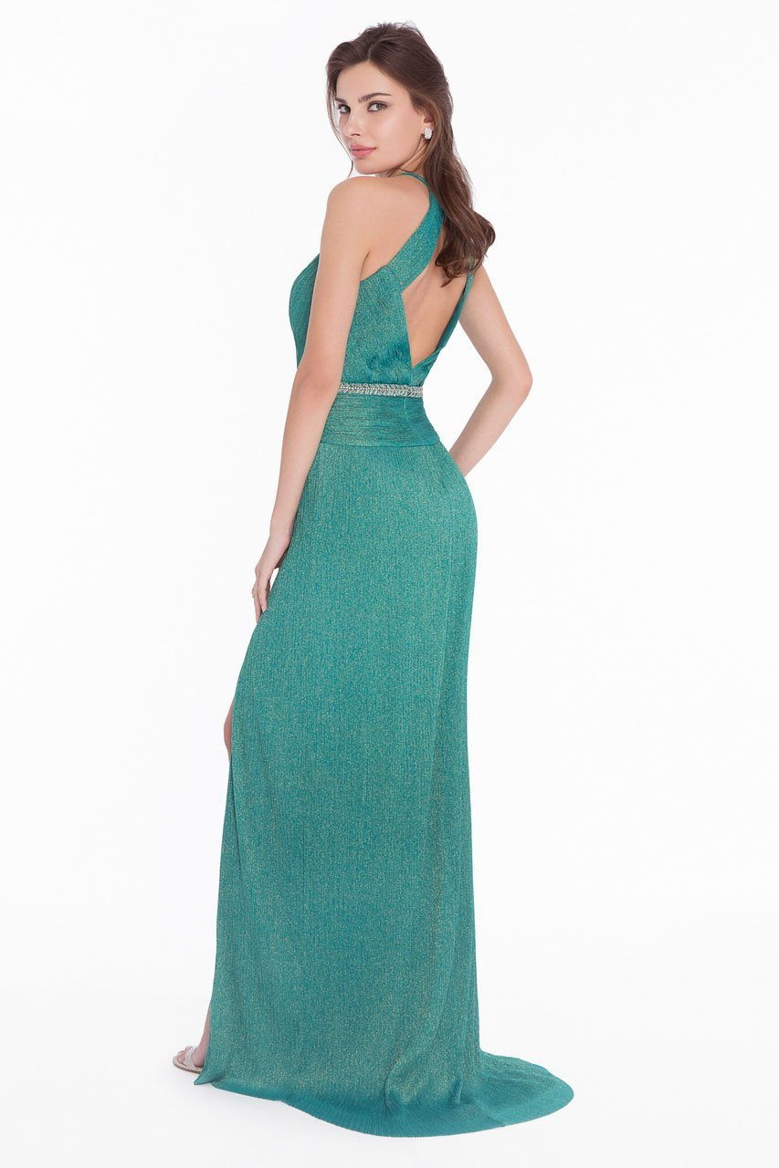 Terani Couture - 1821E7119 Pleated Metallic Knit Plunging Cutout Gown in Green