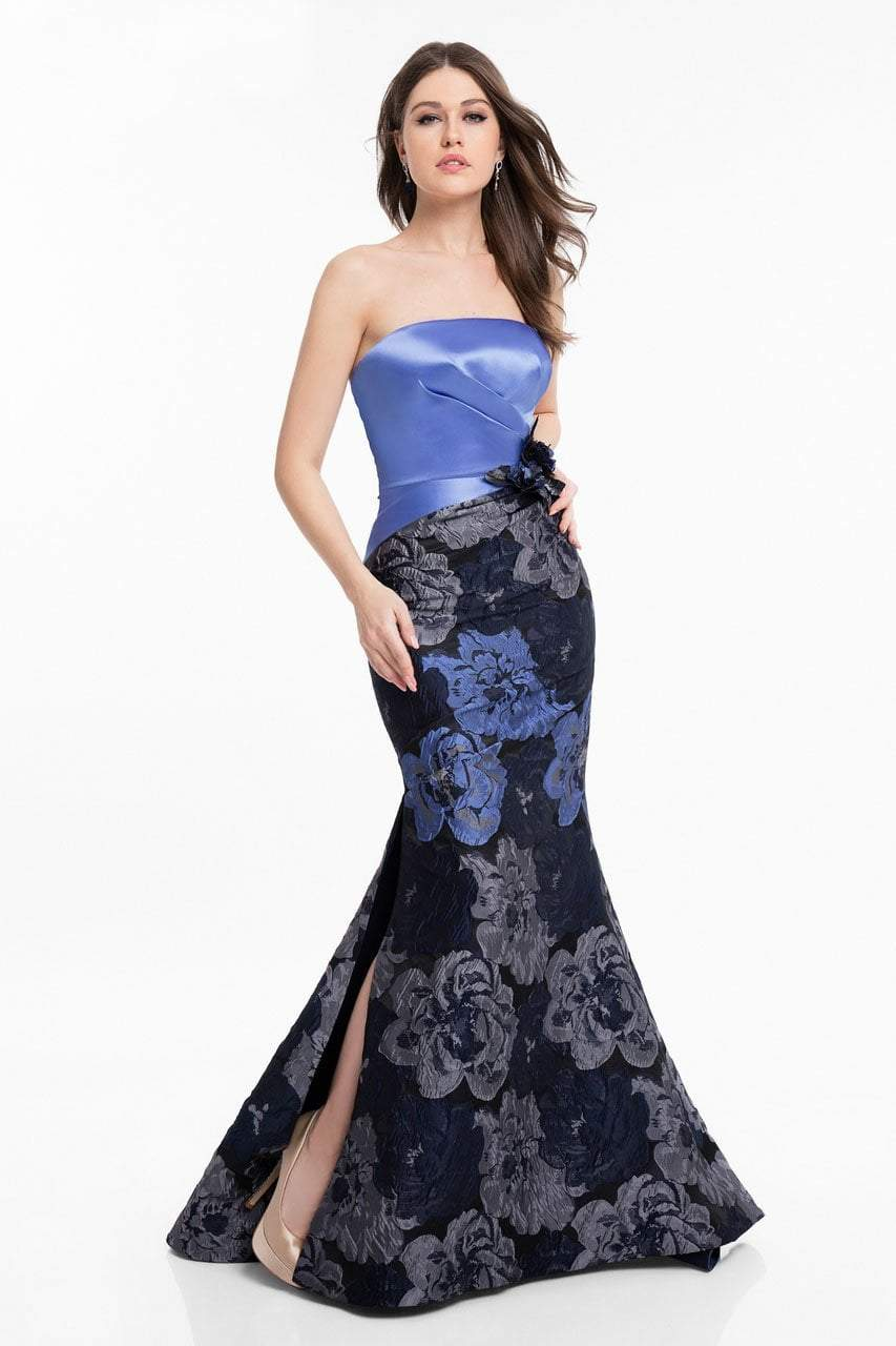 Terani Couture - 1821E7136 Floral Strapless Mermaid Gown with Slit in Blue and Silver