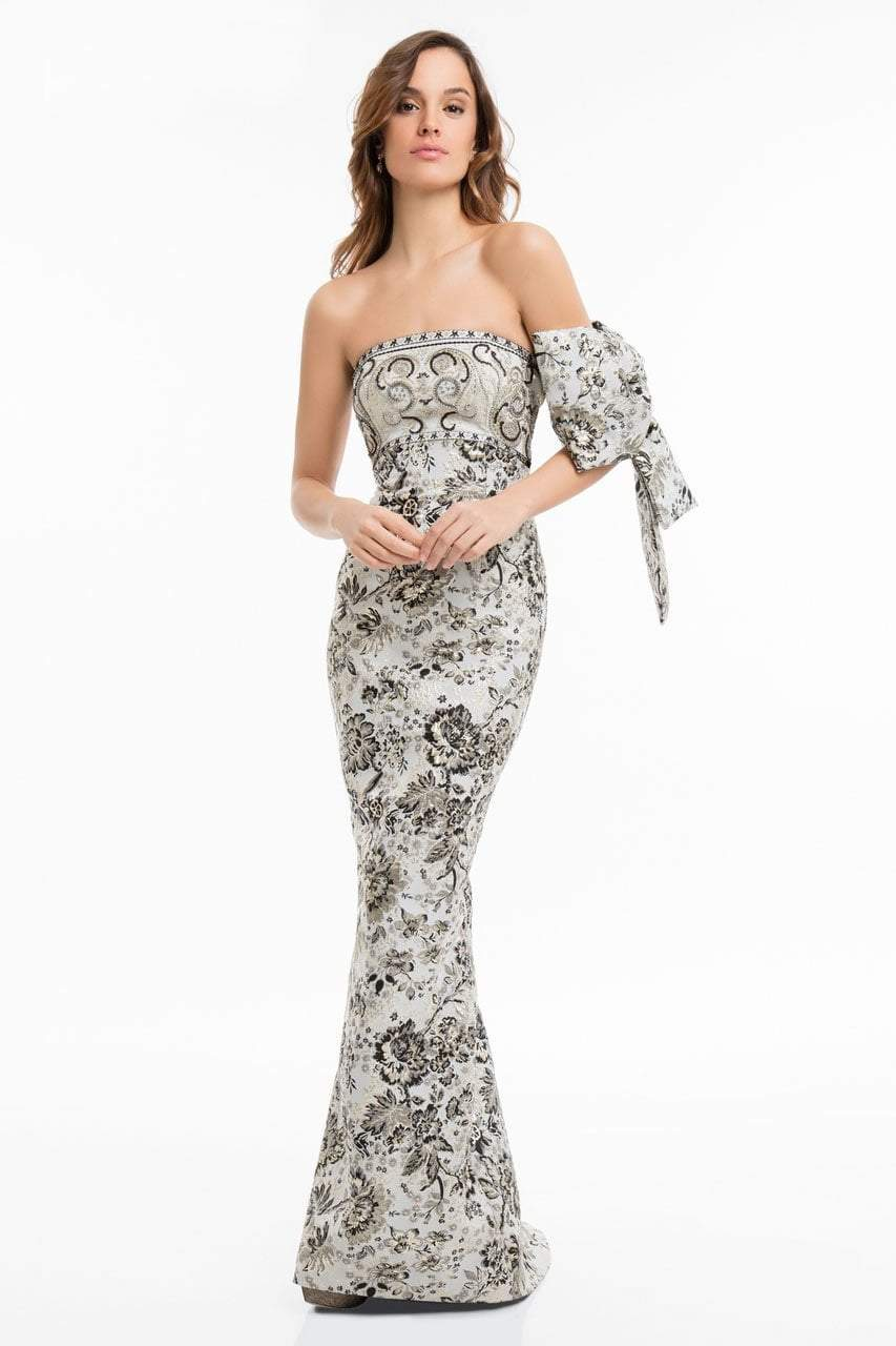 Terani Couture - 1821E7143 Two Toned Gown with Bow and Shawl in Gray