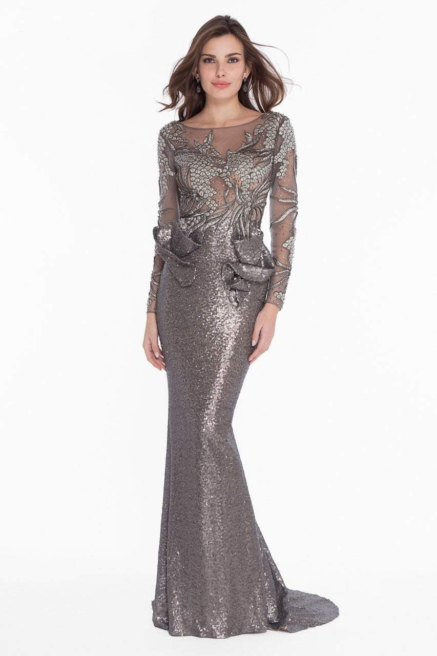 Terani Couture - 1821GL7402 Embroidered Illusion Sequin Ornate Gown in Gray and Neutral