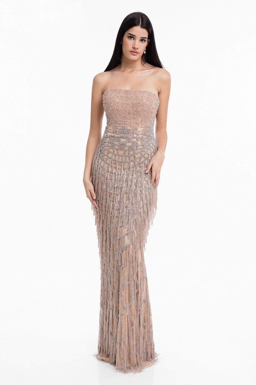 Terani Couture - 1821GL7427 Strapless Beaded Fringe Sheath Dress in Pink and Silver