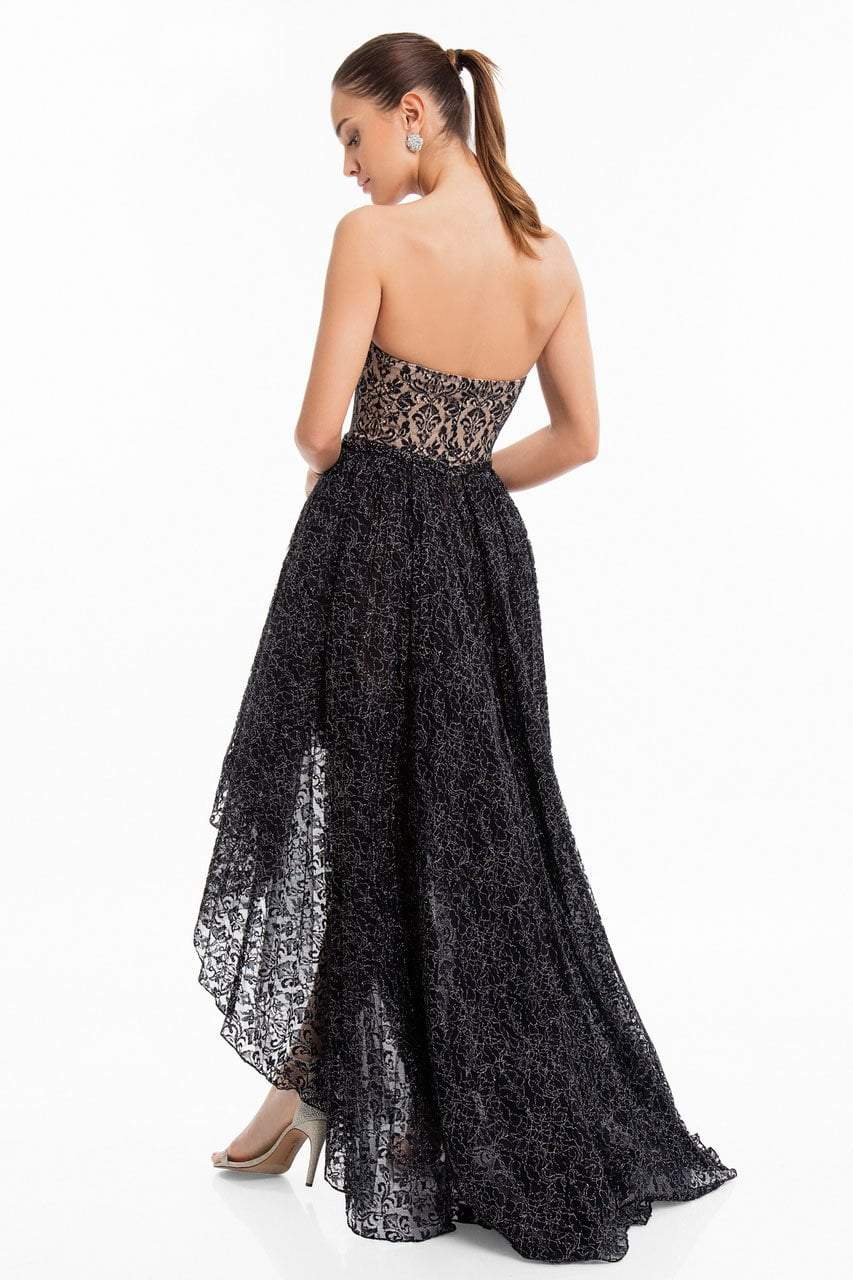 Terani Couture - 1822C7047 Metallic Lace High Low Cocktail Dress in Black and Silver