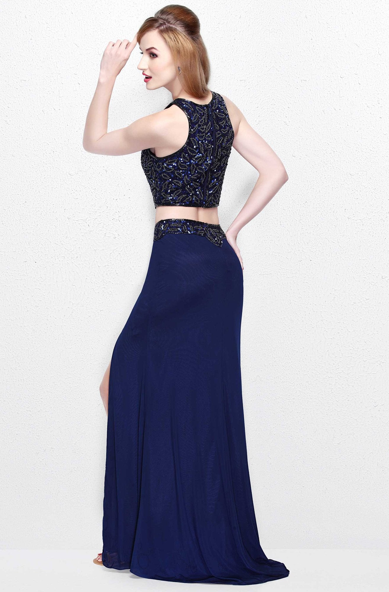 Primavera Couture - Two Piece Halter Long Gown with a Slit 1822 in Blue