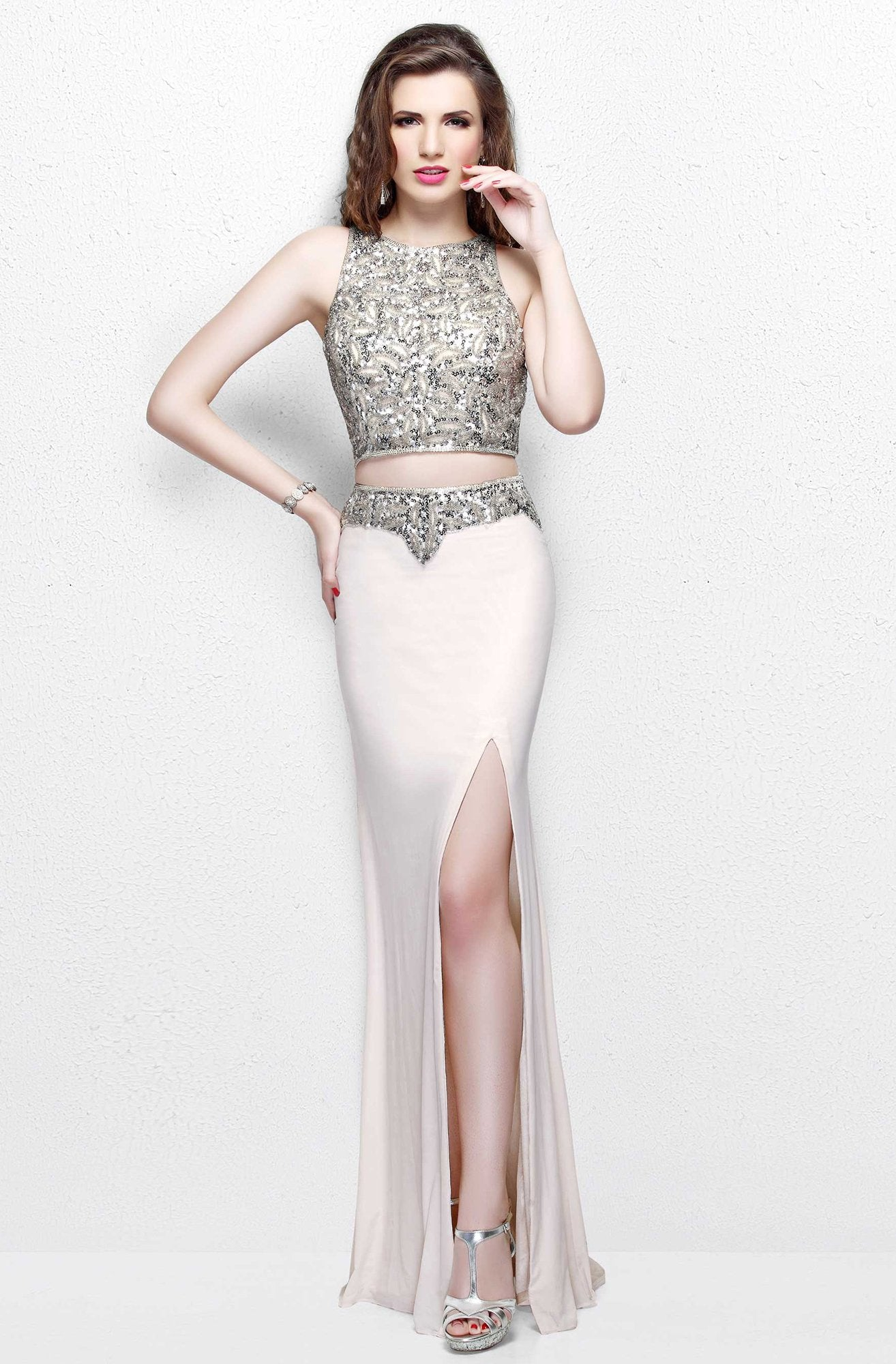 Primavera Couture - Two Piece Halter Long Gown with a Slit 1822 in Nude