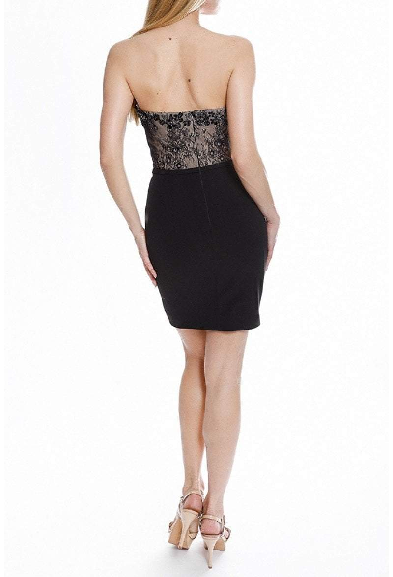 Terani Couture - 1822H7810 Strapless Lace Bodice Sheath Dress In Black