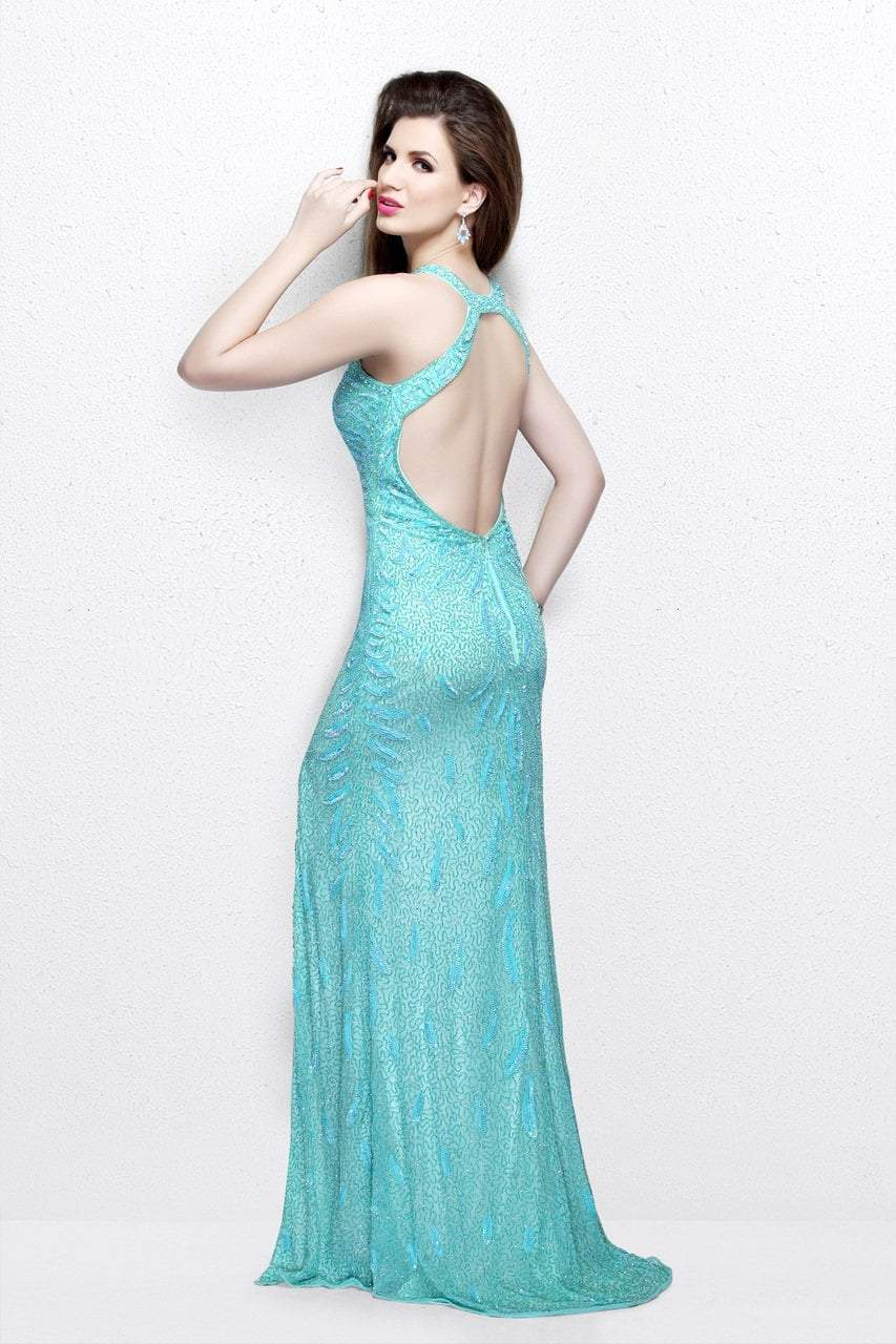 Primavera Couture - Exquisite Keyhole Cutout Sequined Sheath Gown 1831 in Blue