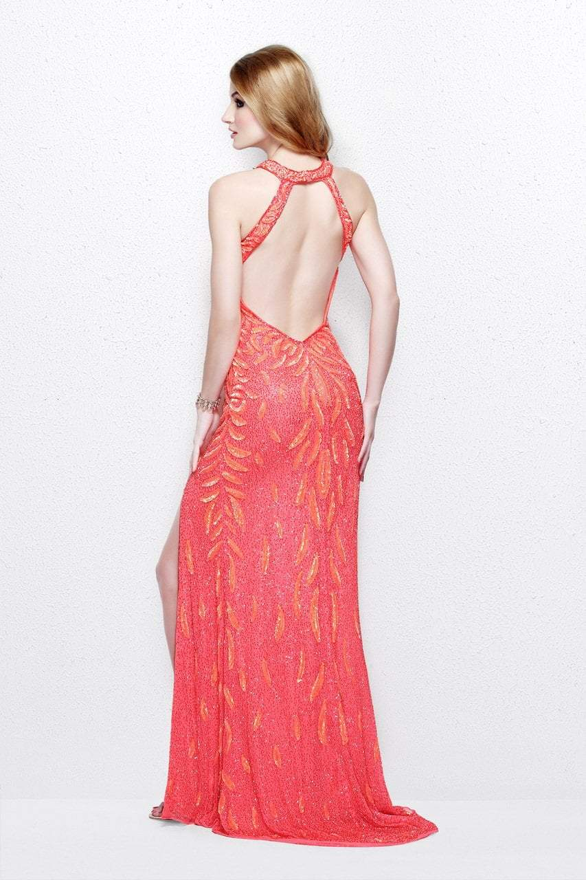 Primavera Couture - Exquisite Keyhole Cutout Sequined Sheath Gown 1831 in Pink