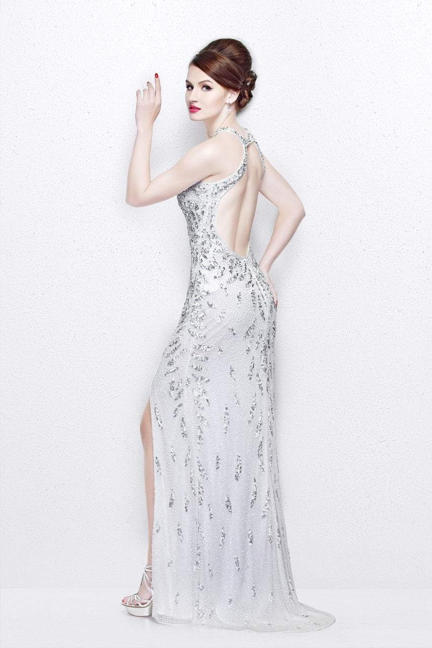 Primavera Couture - Exquisite Keyhole Cutout Sequined Sheath Gown 1831 in White
